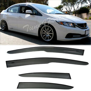 For 12 15 Honda Civic 4dr Rain Guard Window Visors Mugen Style 2 Si Sedan