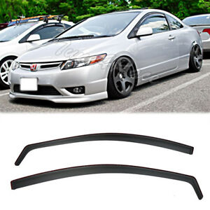 For 06 11 Honda Civic Side Window Visors Oe In Channel 2dr Coupe Si Jdm