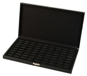 2 New Black Wide Slot 72 Ring Display Portable Sales Storage Boxes Cases