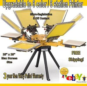 Vastex V 1000 Screen Printing Press 4 Station 6 Color