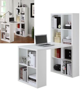 White Bookshelf Desk Table Home Office Furniture L Workstation Shape New