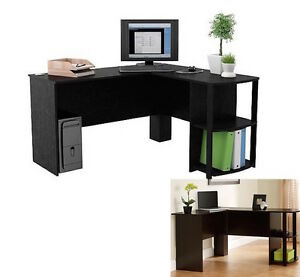 Black L Shaped Wood Desk Computer Table Home Furniture Office New Workstation
