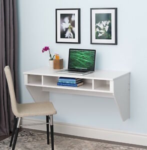 White Wall Mount Desk Computer Table Home Office Workstation Furniture New