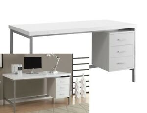 White Modern Computer Desk Wood Writing Table Home Office Workstation Furniture