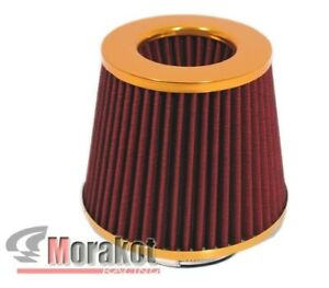 Gold Red Universal 4 Inch High Flow Cold Air Short Ram Intake Dry Mesh Filter