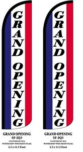 Grand Opening Two 2 Windless Swooper Feather Flag Kits W pole Ground Spikes