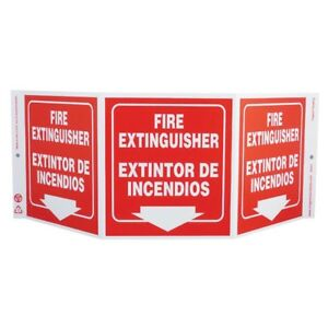 Zing Bilingual Fire Extinguisher Tri view 3 sided Recycled Projection Sign