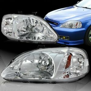 For 99 00 Honda Civic Coupe Sedan Jdm Chrome Headlights W Amber Reflector Lamps