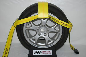 Car Tow Dollie Wheel Net Tie Down Towing Wrecker Supplies Flat Hook Usa Yellow