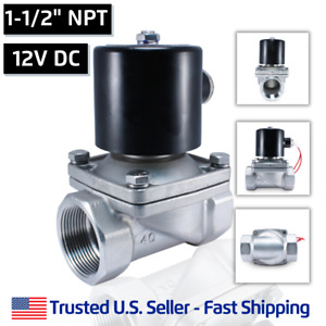 1 1 2 Ss 12v Dc Stainless Steel Electric Solenoid Valve Water Air Gas 12 Vdc