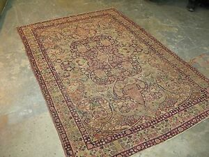 Antique Persian Lavar Kerman Wool Oriental Area Rug Hand Knotted 4 6 X 6 8