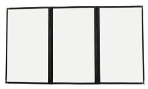 30pcs 8 5 x14 Menu Covers Triple Page 6 Views Gold Corners Black Trim 3lbk