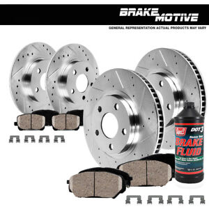 Front Rear Drill Slot Brake Rotors And Ceramic Pads For 2009 2014 Acura Tl