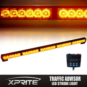 Xprite 31 Amber Led Strobe Light Bar Traffic Advisor Emergency Warning Flash