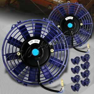 2 X 9 Blue Electric Slim Push Pull Engine Bay Cooling Radiator Fan Universal 2