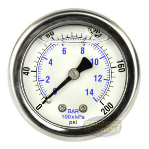 2 Back Mount 1 4 Liquid Filled 200 Psi Compressed Air Compressor Pressure Gauge