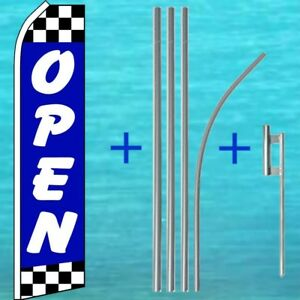 Open Blue W Checkers Flutter Flag Pole Mount Kit Feather Swooper Banner Sign