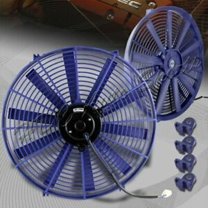 1 X 16 Blue Electric Slim Push Pull Engine Bay Cooling Radiator Fan Universal 3