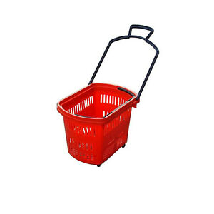 5 Sets 45 L Plastic Shopping Basket Roller handles Red Shopping Toys 5pcs