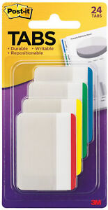 3m Post It Tabs 2 X 1 5 Writable Repositionable Blue Green Yellow Red 24pk