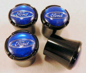Ford Car Truck Black Tire Air Valve Stem Caps With Blue Ford Oval Logo