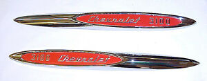 1957 Front Fender Emblems 3100 Chevy Truck New Pair Chrome With Red Paint