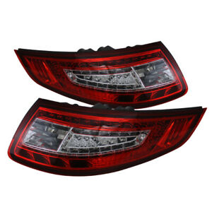Porsche 05 08 997 911 Carrera Gt2 Gt3 Red Clear Led Tail Brake Lights Pair Set