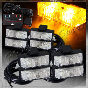 8 Led Amber Truck Emergency Warning Hazard Grill Flash Strobe Light Universal 1