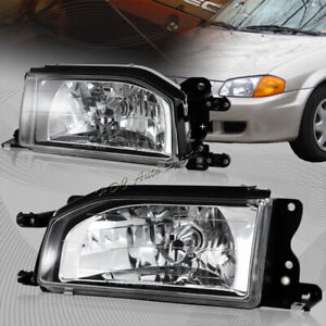 For 1988 1989 Mazda 323 Protege Chrome Housing Clear Lens Headlights Lamps