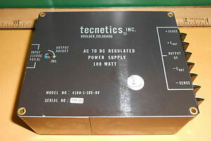 4100 1 105 0v Tecnetics Inc 100w Ac To Dc Regulated Power Supply New Old Stock