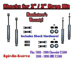 Shock Kit For 88 98 Chevy Gmc C1500 W Lowering Coils Drop Shackles 2 2