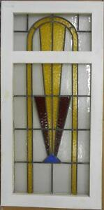 Large Old English Leaded Stained Glass Window Gorgeous Geometric 21 X 42 5