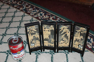 Stunning Chinese Miniature Room Divider 4 Panel Carved Wood Artwork Detailed