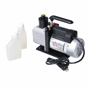 Single Stage Vacuum Pump Rotary Vane 7cfm 1 2hp Deep Hvac Ac Air Tool Black New