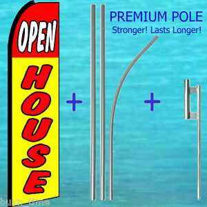 Open House Flutter Flag 15 Tall Premium Pole Mount Feather Swooper Banner