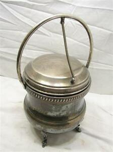 Vintage Silver On Copper Chaffing Dish Glass Vacuum Insulated Pot Ice Bucket