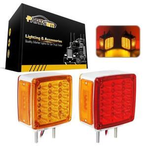 2x Square Double Face Stud Mount Fender Stop Turn Tail Light Amber red 39 Led