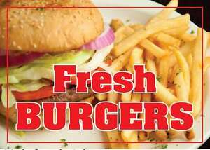 Fresh Burgers 24 x18 Large Hanging Counter Wall Food Signs