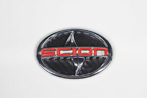 For Scion Large Carbon Fiber Style Emblem Badge Sticker Tc Xa Red Letter