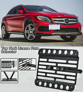 For 15 17 Benz Gla X156 Front Bumper Tow Hook License Plate Relocator Bracket