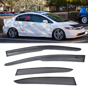 For 06 11 Civic 4dr Rain Guard Window Visors Mugen Style 2 Sedan Fa2 Si