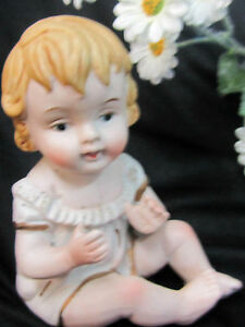 Antique Vintage German Bisque Piano Baby Blonde Girl Doll White Dress Gilt Trim