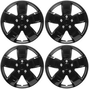 4pc Set Hub Caps Ice Black Shiny 16 Inch For Oem Steel Wheel Cover Cap Covers
