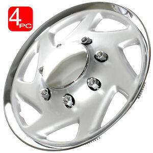 4pc 16 Hub Caps Fits Ford Truck Econoline Van Chrome Silver Wheel Covers Cap