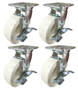 6 X 2 Heavy Duty Plastic Caster white 4 Swivels With Brake