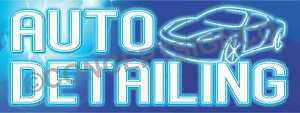 3 x8 Auto Detailing Banner Outdoor Sign Large Car Wash Wax Detail Neon Look