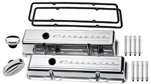 Billet Specialties Polished Tall Valve Covers chevrolet Script breather hex sbc