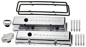 Billet Specialties Polished Tall Valve Covers Chevrolet Script Pcv Breather Hex