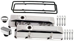 Billet Specialties Polished Tall Valve Covers ribbed breather cap acn sbc chevy