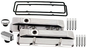 Billet Specialties Polished Tall Valve Covers Ribbed Breather Cap Ribd Sbc Chevy